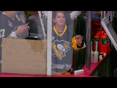 Video: Fan tears up after getting signed stick from Phil Kessel