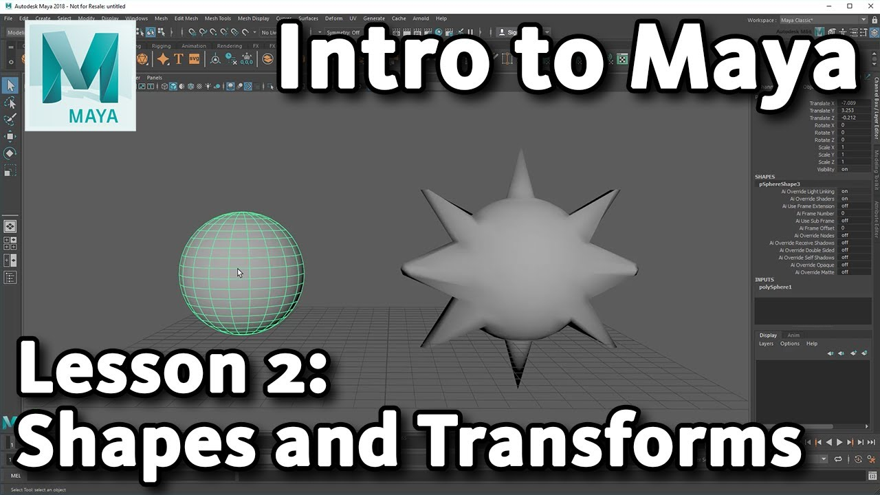 introducing 3d shapes and transforms maya tutorial