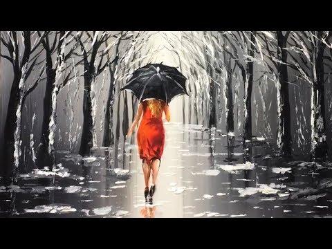 Youtube Lady Rain Umbrella Acrylic Painting