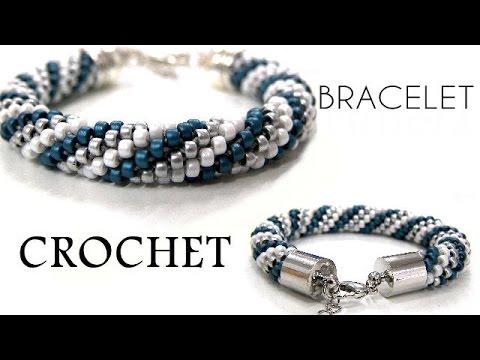uncinetto - braccialetto ritorto con perline