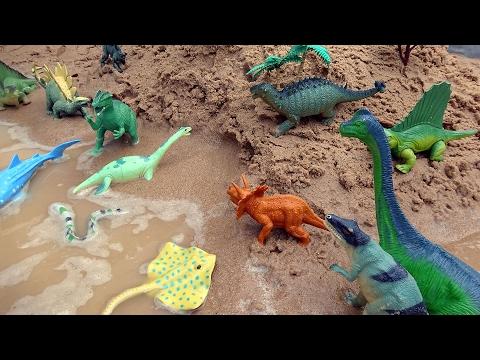 Fun Dinosaurs and Sea Animal Toys in the Sandbox!