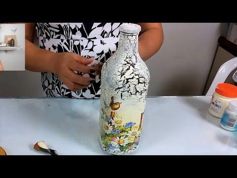 Garrafa reciclada craquelê