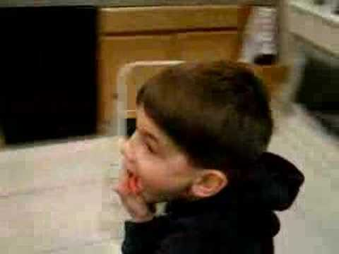 A kid tries Wasabi for the first time