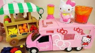 Hello Kitty car and Fruit shop with Baby doll toys play
