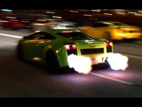 Twin Turbo Gallardo Flybys + FLAMES