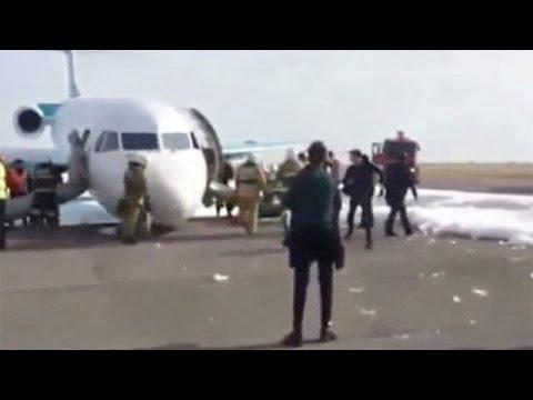 Καζακστάν: Προσγείωση χωρίς μπροστινούς τροχούς