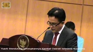 Download Video Yusril Mendukung Dihidupkannya Kembali Daerah Istimewa Surakarta MP3 3GP MP4