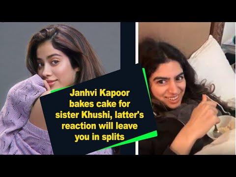 Janhvi bakes cake for sister Khushi latter reaction will leave you in splits1