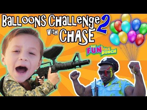 CHASE & PAPA CANDY BALLOON GUN CHALLENGE w/ OFFICE BUFF!! (видео)