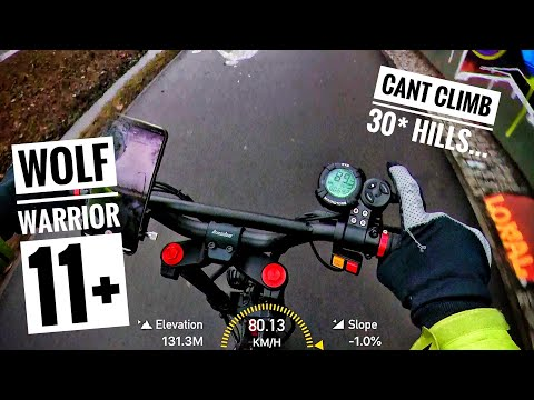 80 km/h on KAABO WOLF WARRIOR 11+ eScooter PERFORMANCE TESTS and OVERVIEW - Can't climb 30* hills...