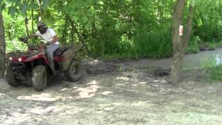 3. 2004 Kawasaki Prairie 360 4x4 ATV getting winched out of mudhole. Haspen Acres Indiana