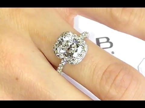 2 carat Cushion Cut Diamond Halo Engagement Ring