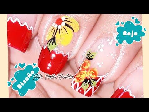 Decoración de uñas con flores y rosas/diseño de uñas en  rojo/Uñas decoradas paso a paso