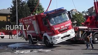 Totalna kompromitacja strażaka-kierowcy, na zawodach w Mediolanie