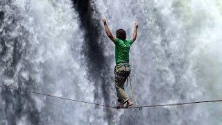 Victoria Falls Zimbabwe  City new picture : Pair complete daring slackline crossing of Victoria Falls in Zimbabwe