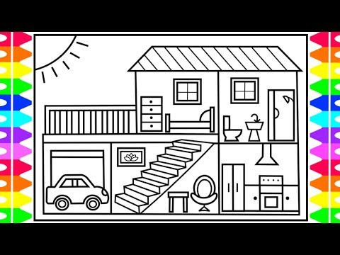 How to Draw a House for Kids  ррр House Drawing for Kids  House Coloring Pages for Kids