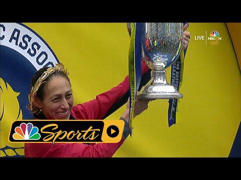 2018 Boston Marathon: USA's Desi Linden receives trophy and medal I NBC Sports