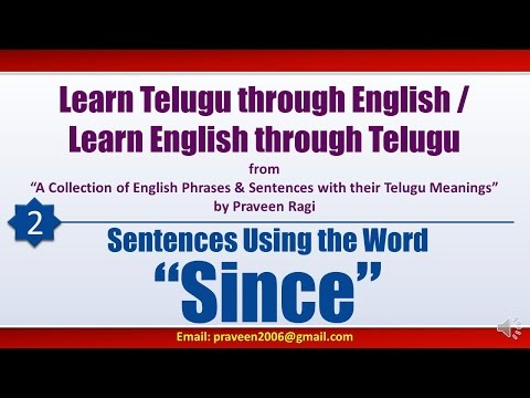 "002 - Spoken Telugu (advanced Level) Learning Videos - Sentences Using The Word ""since"""