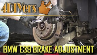 """Video tutorial on how to adjust the parking brake on a BMW E39. Here I am working with a 1997 540i and a similar procedure may apply to other BMW models as well. This video will also cover how to remove the caliper, carrier, and rotor as well. For this, there are two areas that need to be adjusted. First we will adjust it at the rotor and then after finish up at the handbrake handle. Website: http://4diyers.comPatreon: https://www.patreon.com/4diyersFacebook: https://www.facebook.com/4diyersGoogle Plus: https://plus.google.com/+4DIYersTwitter: https://twitter.com/4DIYersInstagram: https://www.instagram.com/4diyers/Tumblr: http://4diyers.tumblr.comPintrest: https://www.pinterest.com/4diyers/Tools/Supplies Needed:-ratchet and socket set-wrenches-interlocking pliers-brake grease-jack and jack stands-wire brush-sandpaper-standard screwdriver-allen keys-bungie cordProcedure:-start by safety elevating the rear of the vehicle and remove the wheel-to remove the caliper, we will have two plastic caps covering the slide pin bolts-use a standard screwdriver to pop off the caps-crack the cap on the master cylinder reservoir and compress the piston in the caliper using large interlocking pliers-there are two 7mm allen head fasteners that need to be removed-I find you will need to work with a mix of tools as the bottom fastener tends to interfere with the lower control arm when using a ratchet-the top I am able to use a 1/2"""" drive ratchet with an allen socket-the bottom, I used a 7mm allen key-remove the anti rattle clips-pull the caliper off and tie it off so it doesn't fall or put strain on the brake line-remove the 5mm allen head retaining fastener for the rotor-remove the brake pads, they simply sit in place-remove the caliper carrier-there are two 16mm bolts, again using a 1/2"""" drive ratchet and socket, then the carrier can be removed-you will need to back off the adjustment inside the car at the handbrake handle-to remove the leather cover, slip your fingers on the top edge"""