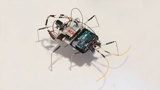 My second experiment with Arduino uno . Two servos six legged obstacle avoidance walking robot.