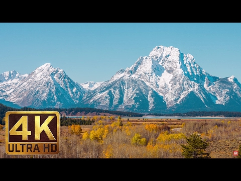 Grand Teton Mountains Scenery | 1 Hour - Relaxation Video in 4K | Last Days of Fall Foliage (видео)