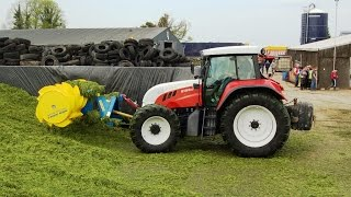 Grass & Muck 2016 the Pit Steyr 6195CVT using a Rech 2 Grass Silage spreader putting up the pit, First time seeing one looked to be doing a good job.Thank you for watching please subscribe and like and also Follow on Twitter @agri_jm and like on Facebook JM Agri Videos.