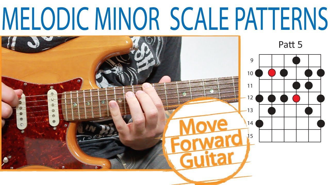 Guitar Scales – Melodic Minor Patterns (Positions) – 2/3 Notes per String