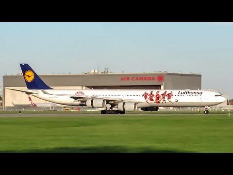 "Lufthansa ""FC Bayern Muchen"" A340-600 (A346) landing in Montreal (YUL/CYUL)"