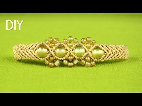 tutorial macramè - bracciale con perle