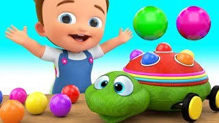 Colors for Children to Learning with Baby Fun Play with Wooden Turtle Balls ToySet Kids Educational
