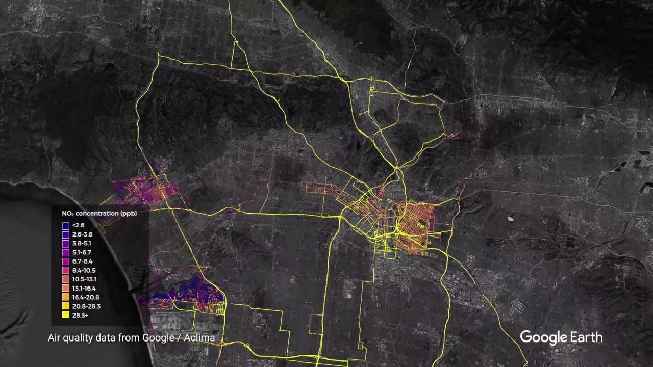 Air quality measurements in Los Angeles region (Landsat / Copernicus, Data SIO, NOAA, U.S. Navy, NGA, GEBCO, IBCAO, Data LDEO-Columbia, NSF, Data USGS, Data CSUMB SFML, CA OPC)
