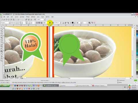 Video belajar desain spanduk bakso kuah dengan corelDRAW X3