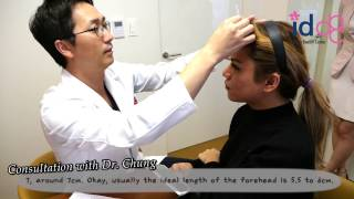 Ideal length of a forehead? American girl having a plastic surgery consultation in South Korea