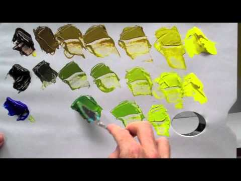 How to mix green acrylic paint