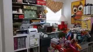 Part One of my craft room tour. Sorry that it is wonky because I am taping on my phone  - Captured Live on Ustream at http://www.ustream.tv/channel/scrappycampersisters with the Ustream Mobile App
