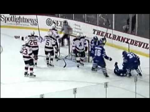 Ryan Hamilton Goal From His Back - Marlies/Devils 11.13.2011