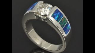 Customized Lab Opal Engagement Ring