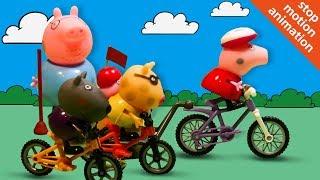 Мультфильм для детей  Свинка Пеппа и велосипедные гонки 720p
