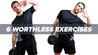 Are these the 6 most worthless exercises? https://goo.gl/W8NfYESubscribe to the newsletter here: http://tigerfit.shop/signupMTS Nutrition CEO Marc Lobliner presents his six most worthless muscle building exercises:Hip ThrustCrunchesAb CoasterWrist CurlSide One Leg PressWeighted Side Bends