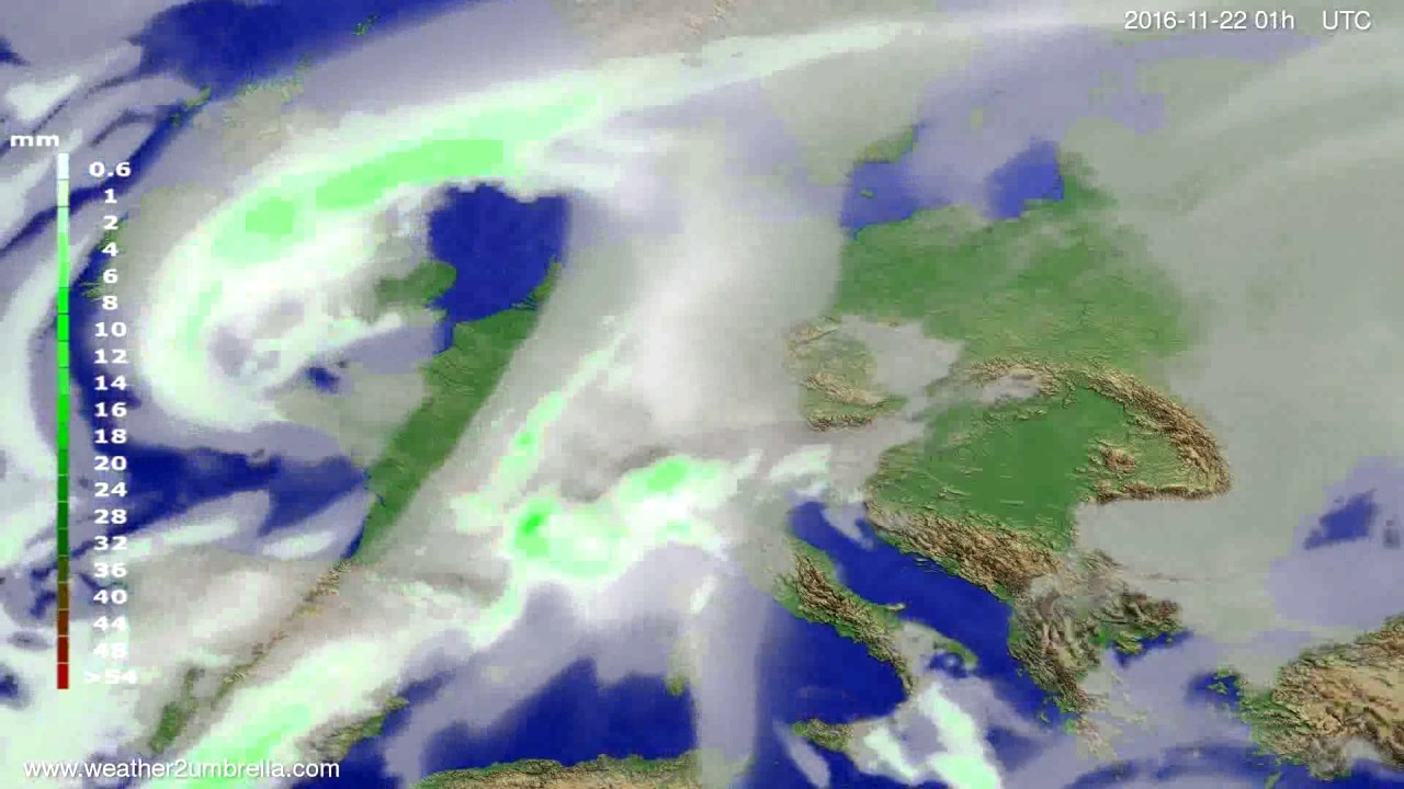 Precipitation forecast Europe 2016-11-19