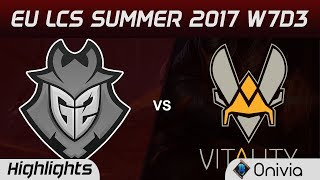G2 vs VIT Highlights Game 1 EU LCS SUMMER 2017 G2 Esports vs Vitality by OniviaMake money with your LoL knowledge https://goo.gl/mh4DV5Use Bonus code ONIVIA100 to get 100% first deposit bonus!Offer available in all countries(Except UK), you have to be at least 18 years old. Spoiler free highlights on http://onivia.comJoin our discord channel to send feedback and stuff https://discord.gg/hf9vNG9Like us on Facebook  - https://www.facebook.com/oniviagames/Follow us on Twitter - https://twitter.com/oniviagamesWatch Vods on LoLEventVods - https://www.youtube.com/user/LoLeventVoDsROCCAT helps us create highlights faster! Here is what we are using:Mouse: ROCCAT Kone EMP Keyboard: ROCCAT Isku+ Force FX Headphones: ROCCAT Cross  Mousepad: ROCCAT Taito XXL-Wide Check out their products here: https://goo.gl/dQfvZuAkali counter: http://onivia/akali-counter/Xayah counter: http://onivia/xayah-counter/Aatrox counter http://onivia/aatrox-counter-lol/Ahri counter tips http://onivia.com/ahri-counter-lol/Alistar counter tips http://onivia.com/alistar-counter-lol/Amumu counter tips http://onivia.com/amumu-counter-lol/