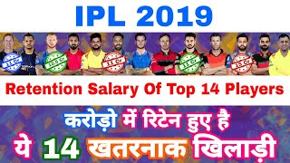 IPL 2019 - Retention Salary & Fees Of Top 14 Retained Players Before IPL Auction