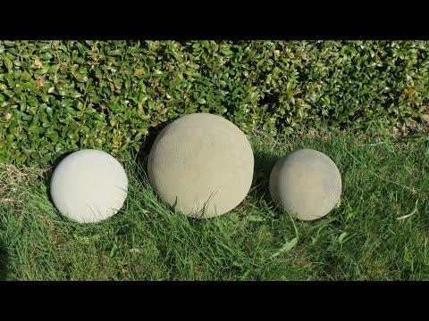 Deko für Garten . Kugel ( ca. 170 mm ) aus Beton selber machen .