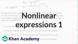 Interpreting nonlinear expressions — Basic example | Math | New SAT | Khan Academy