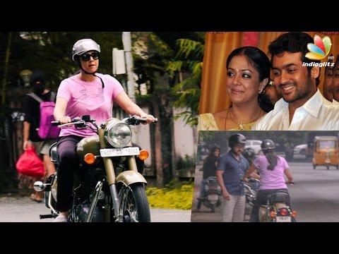 Suriya-teaching-Jyothika-to-ride-a-Bullet-bike-Hot-Tamil-Cinema-News