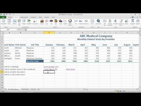 Inserting Hyperlinks into a spreadsheet