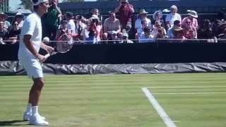 Roger Federer hitting with Stefan Edberg at Wimbledon 2015 before his first round.