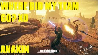 Star Wars Battlefront 2 - Anakin slaughters enemy but where's team?? Anakin Killstreak!
