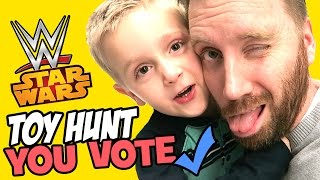 Video YOU VOTE Toy Hunt at Toys R Us with WWE Toys and Star Wars Toys and Spiderman Toys by KidCity MP3, 3GP, MP4, WEBM, AVI, FLV Maret 2018