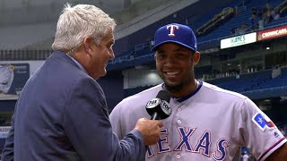 Elvis Andrus reacts to the Rangers' 4-3 win in 10 innings, discussing his homer in the 1st and his go-ahead RBI single in the 10th ...